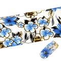 Nuevo 100*4 cm Patrón de Flores de Belleza de Uñas de Arte Transferencia Láminas Pegatinas Nail Wraps Pegamento Adhesivo de Uñas Pegatina de Uñas calcomanías