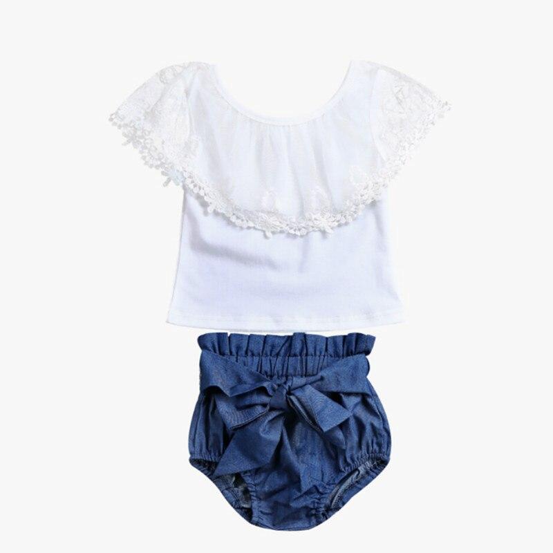2Pcs Toddler Infant Baby Girls Lace Floral Off Shoulder Cotton Blouse Tops Shirt Bowknot Denim Shorts Romper Outfits Set Clothes