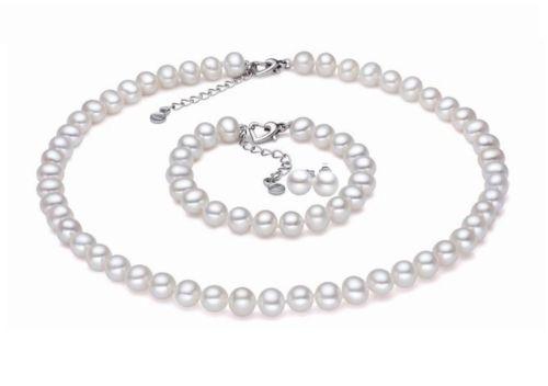 Livraison gratuite. 656 Noble Triple brin AAA + 7-8 MM collier de perles noires et bracelet ensemble