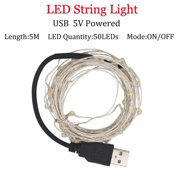 Светодиодный светильник-гирлянда s 10 м 5 м 2 м, серебряная гирлянда, украшение для дома, Рождества, свадьбы, вечеринки, питание от батареи 5 В, USB, сказочный светильник - Испускаемый цвет: 5m  USB  Powered