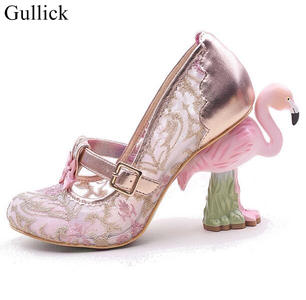 Luxury Painted Flamingo Embroidery Heels Pumps Hollow Mesh Sequins Lace Flower Dress Shoes Flamingo Heel Women Shoes Real Photo flamingo patch zipper swing dress
