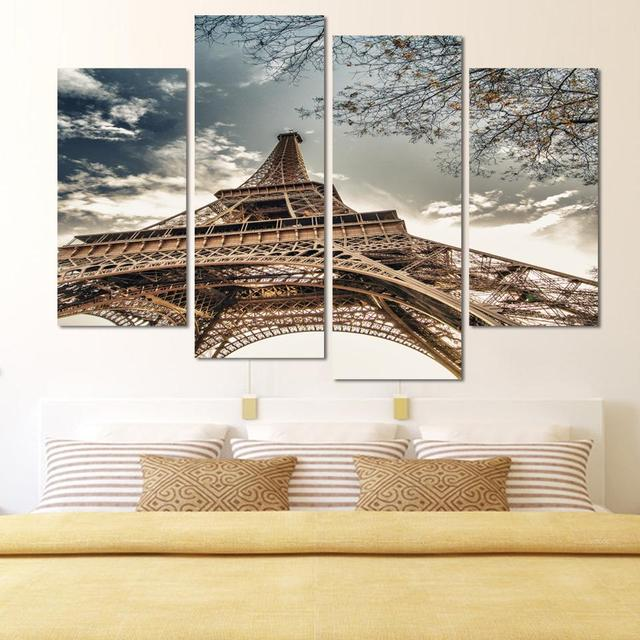 4 Panels Unframed Canvas Photo Prints Eiffeltoren Wall Decorations For Living Room Home Office Artwork Giclee