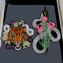 1pc Quality Large Snake Tiger Head Flower Embroidered Iron on Patches Fashion Clothes Jacket Badge Applique Accessories P94