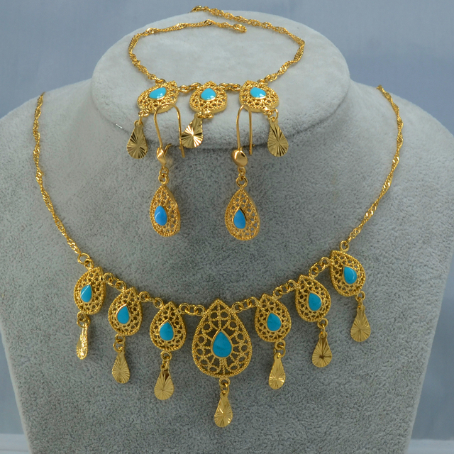 Arab Jewelry Set Necklace Bracelet Earrings - Gold Plated Egypt/Oman/Iran/ Middle East/Turkey Wedding set Jewellery African