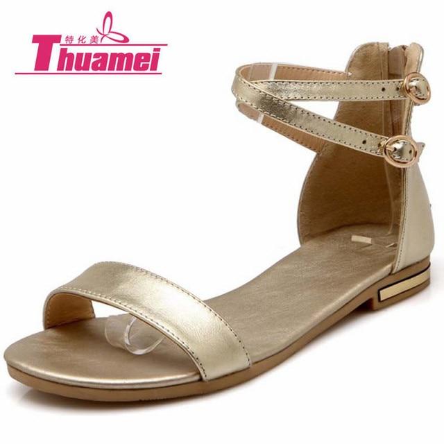 Femme Mode Sandales Gladiateur Flats PU en Cuir Sandales Kaki 43 xAE96lE1e