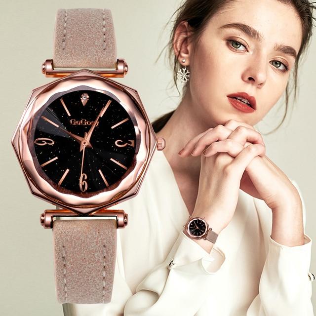 2018 New Watch Women Fashion Leather Wristwatch Gogoey Watches Luxury Diamond La