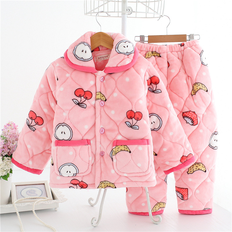 Autumn and winter childrens thickened cotton flannel pajamas, kids home clothes, childrens coral velvet warm cotton suitAutumn and winter childrens thickened cotton flannel pajamas, kids home clothes, childrens coral velvet warm cotton suit