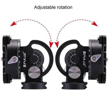 Level 3 Plates | PULUZ DSLR Panoramic Head 1/4'' & 3/8'' Screw 2-Way Pan/Tilt Tripod Head Photography Adapter 3 Bubble Level Quick Release Plate