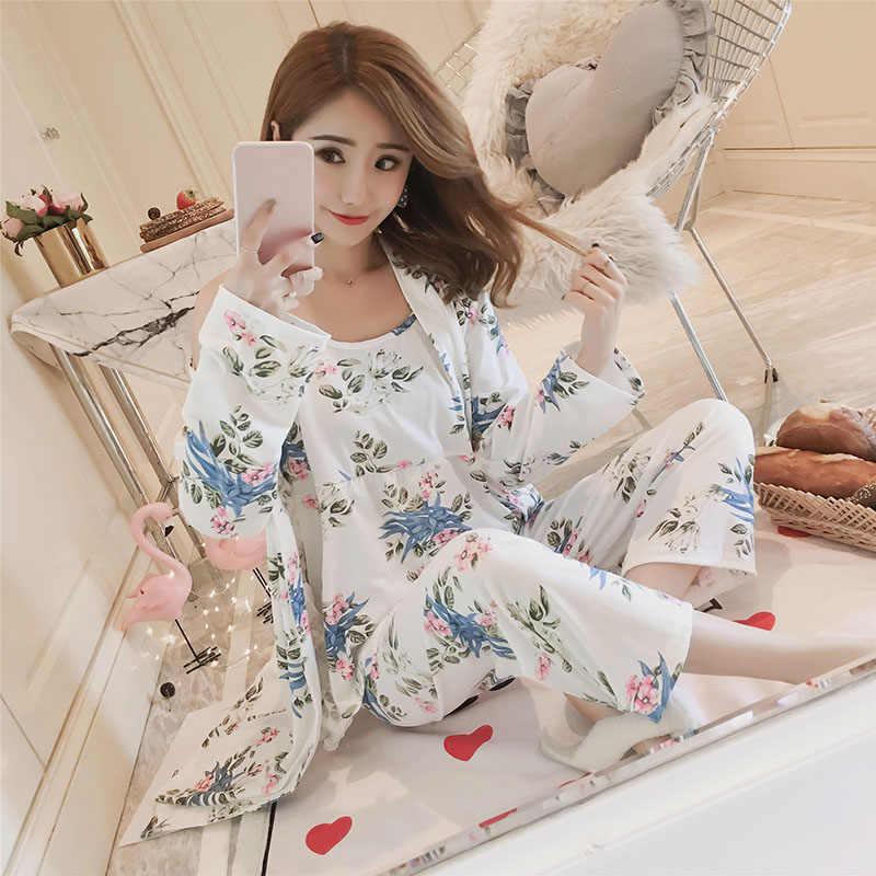 Хлопковые халаты наборы для женщин 2018 Новинка Осень Зима модная пижама с длинным рукавом Femme цветочный принт халат Домашняя одежда домашняя одежда