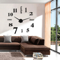 New DIY 3D Silver/Black Fashion Art Wall Personality Clocks Wall Clock Wall Stickers Poster On Wall Home Decoration Accessories