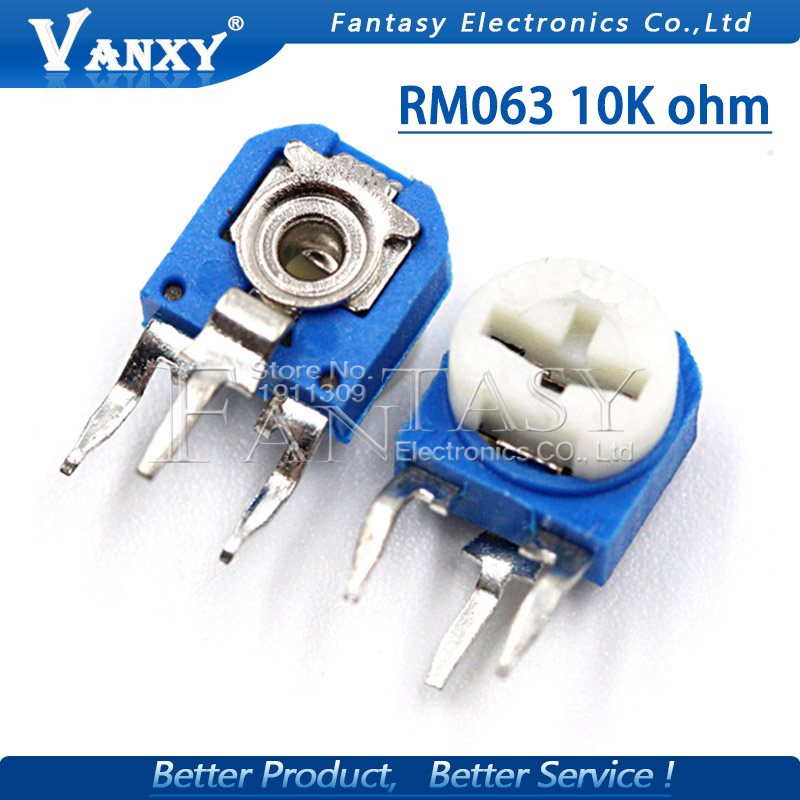 20pcs RM063 10k Ohm Blue And White Can Be Adjusted Resistance Potentiometer 103