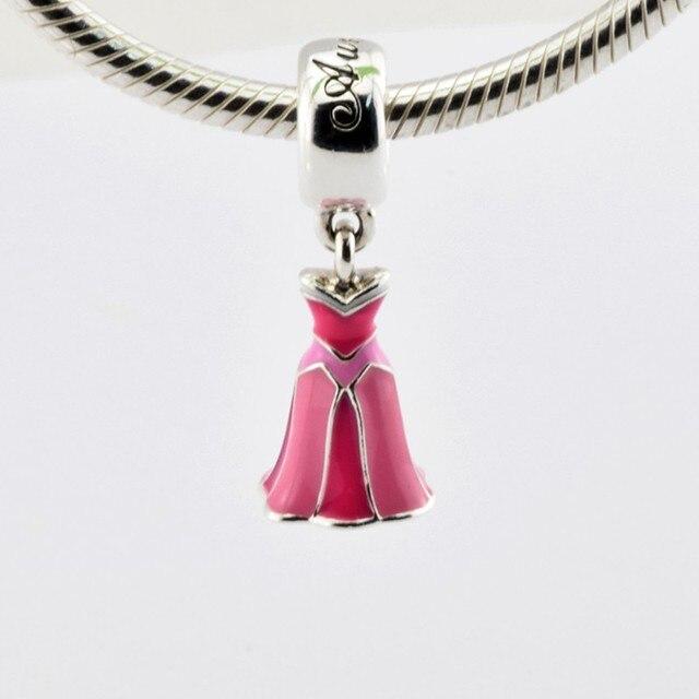 af1aca538dca 2016 Colección Primavera Vestido de Perlas de Esmalte Rosa Aurora Adapta  Pandora Charms Pulsera Original Joyería