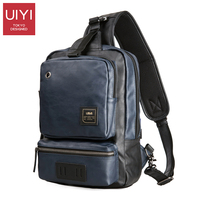 UIYI PU Leather Men Messenger Bag Casual Waterproof Chest Pack Men Handbags Leather Shoulder Bags Male