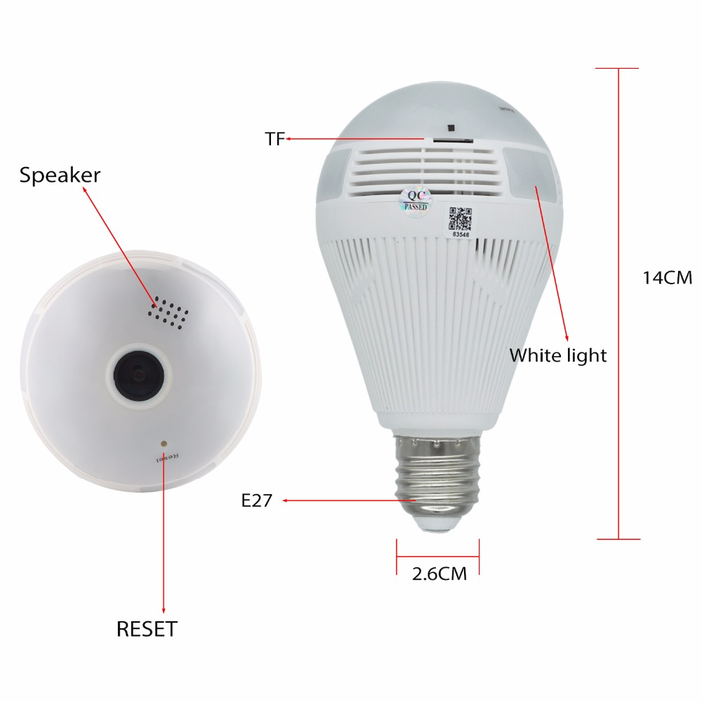 OUERTECH Full view 360 degree Two way audio white light bulb ...