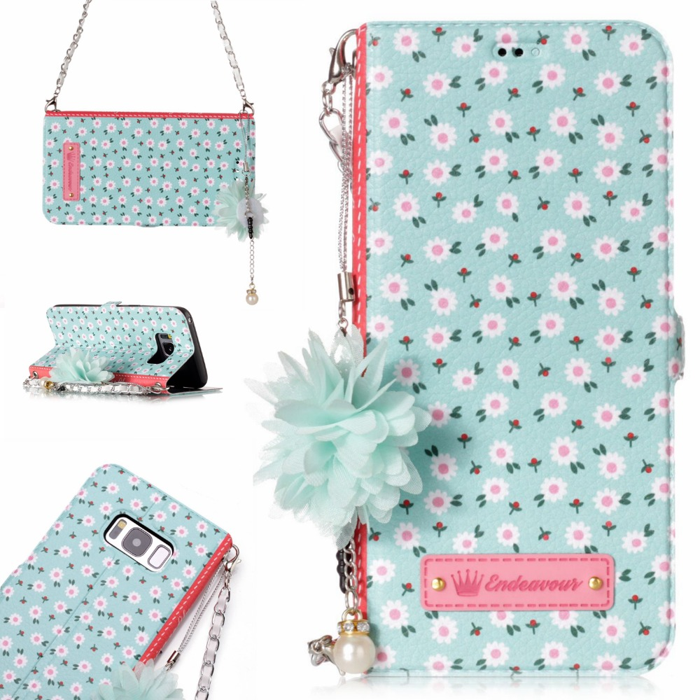 Go2linK Flower Leather Wallet Case For Galaxy S8 Bling Diamond Buckle Magnetic Flip Cover For Samsung Galaxy S8 Plus