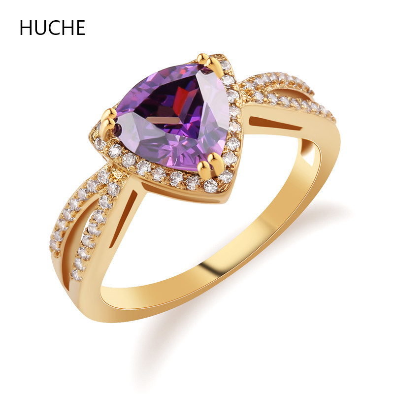 HUCHE Fashionl Style Engagement Cristal Rings for Womens Rings