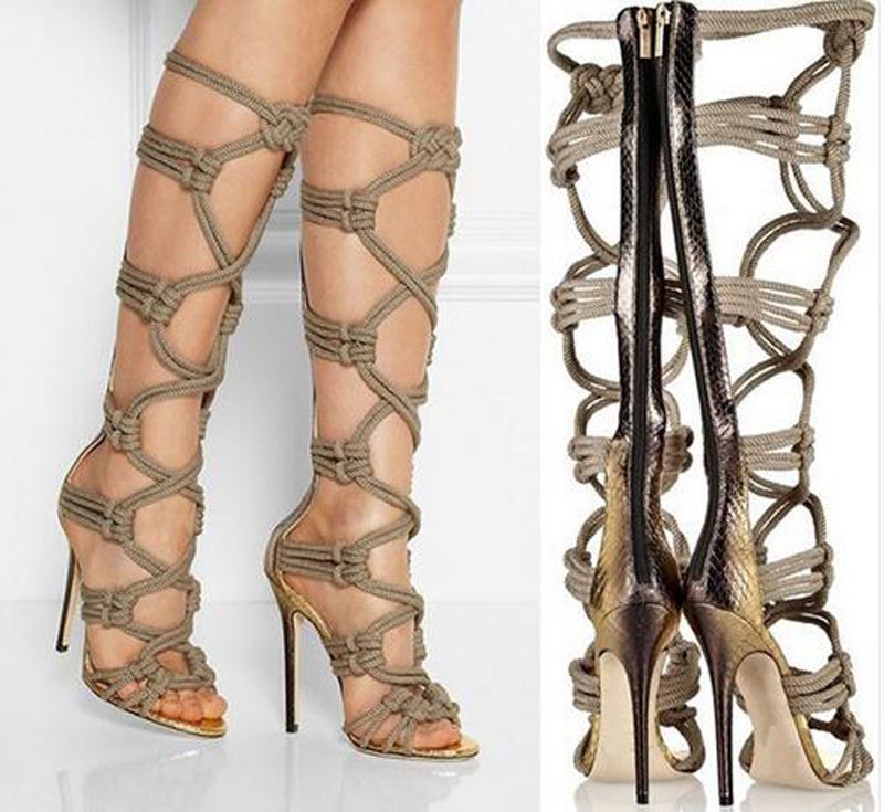 Hot Selling Women Gladiator Knee High Boots Sexy Zipper Peep Toe Ultra High Heels Botas Mujer Cross Strap Hollow Out Women Shoes цена и фото