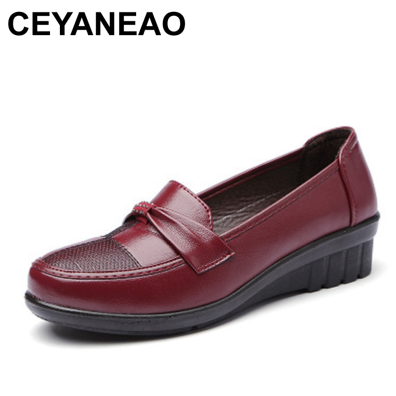 CEYANEAO Shoes Woman 2018 Autumn Fashion Genuine Leather Women Flats Shoes Female Slip on Casual Mother Shoes free shipping whensinger 2017 woman shoes female genuine leather flats slip on summer fashion design f927