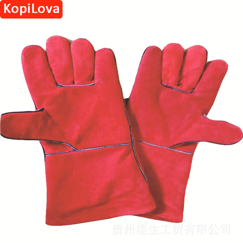KopiLova 1pairs Welding Gloves 34cm Fire Proof Sputtering Protection Gauntlet  Workplace Safety Gloves for Finger Protection the gauntlet