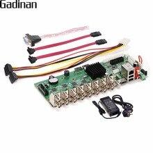 GADINAN AHD 16CH 1080N กล้องวงจรปิดเครื่องบันทึกวิดีโอเครือข่าย H.264 16 Channel Hybrid AHD/CVI/TVI/CVBS HDMI เอาต์พุต DIY 5 in 1 บอร์ดหลัก
