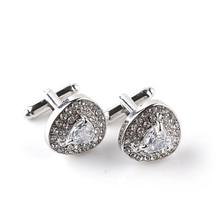 Men's Elegant Silver Cufflinks with Zirconia