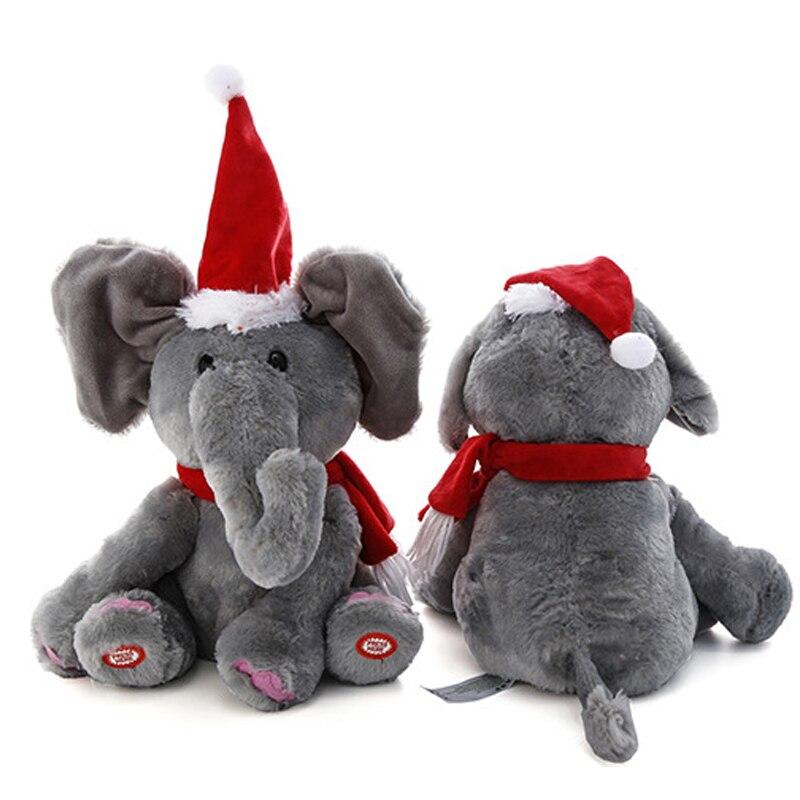 30cm Peek A Boo Electric Christmas Elephant Plush Soft Toys Animal