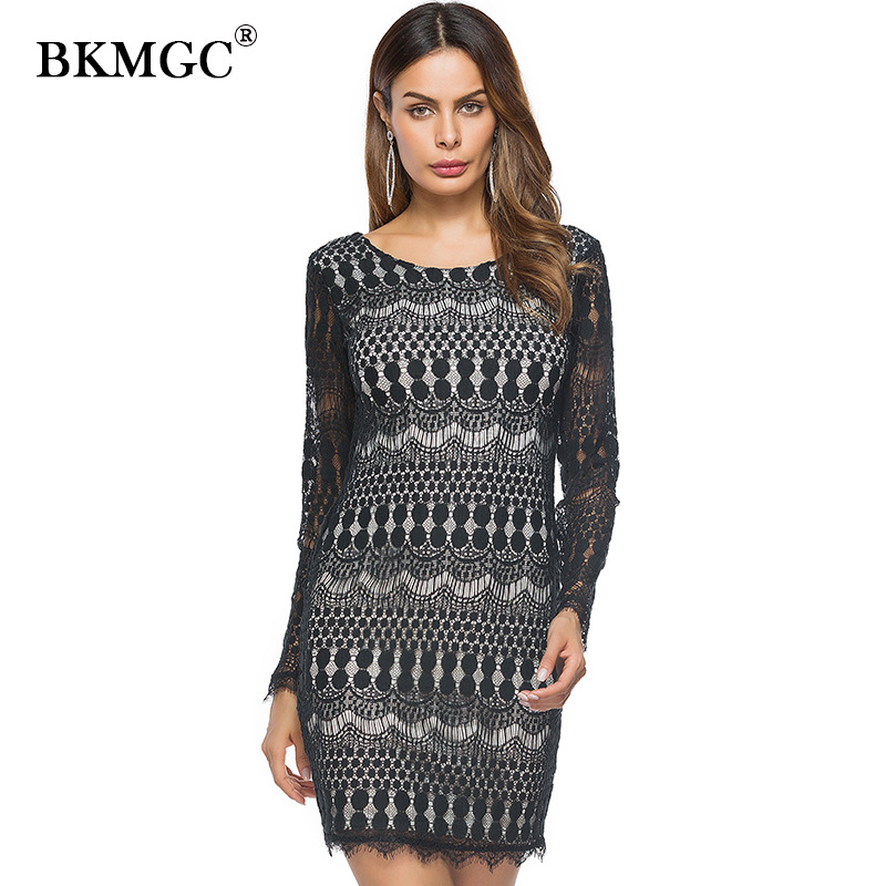 2018 spring new womens long-sleeved lace Slim dress hit color lace dress