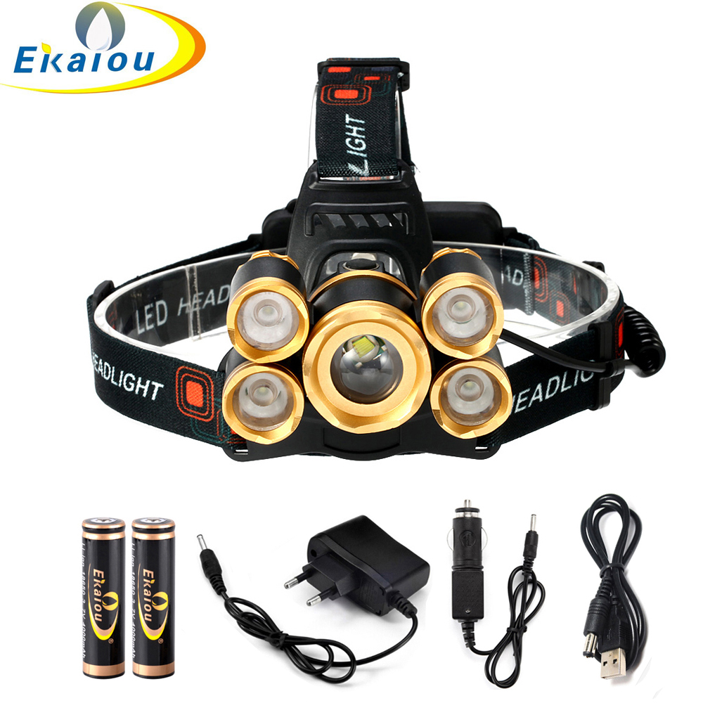 20000 Lumens Waterproof CREE XML T6 +4*XPE LED Zoom Headlamp Tactics Headlight Head Lamp Flashlight For Bicycle light kit