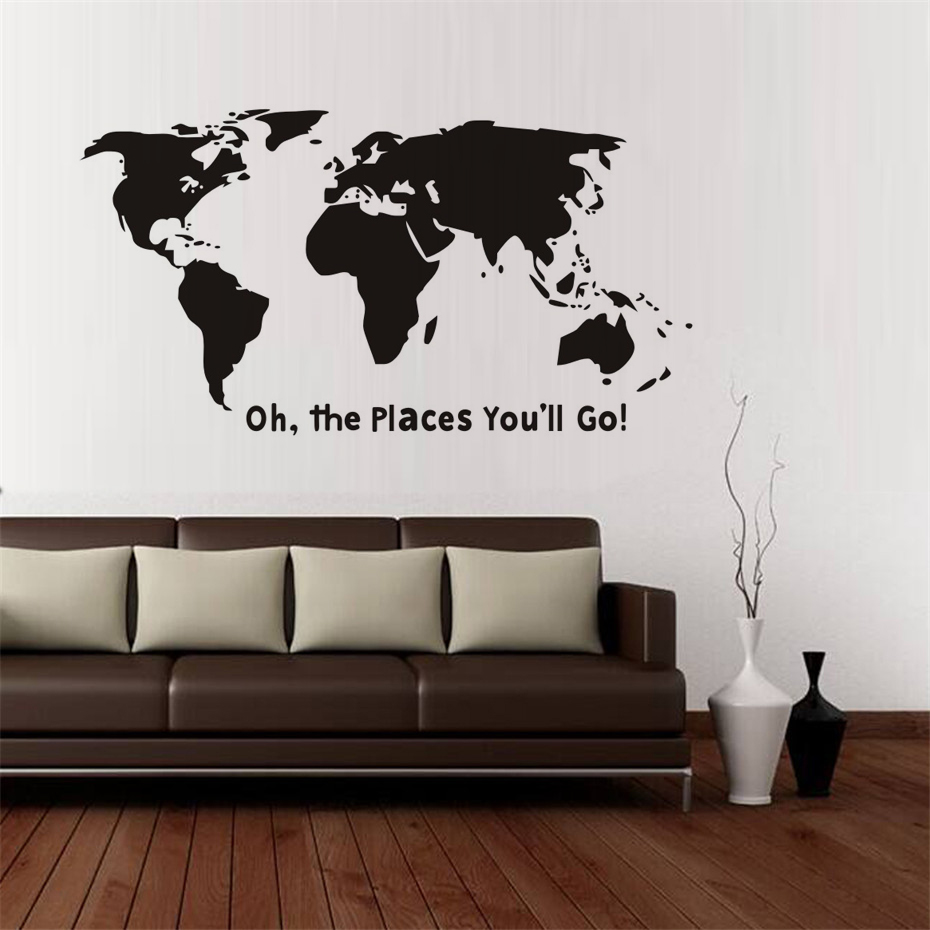 Diy Oh The Places YouLl Go Quotes Wall Sticker Poster Wallpaper Wall Decals Living Room Bedroom Office School Classroom Decor