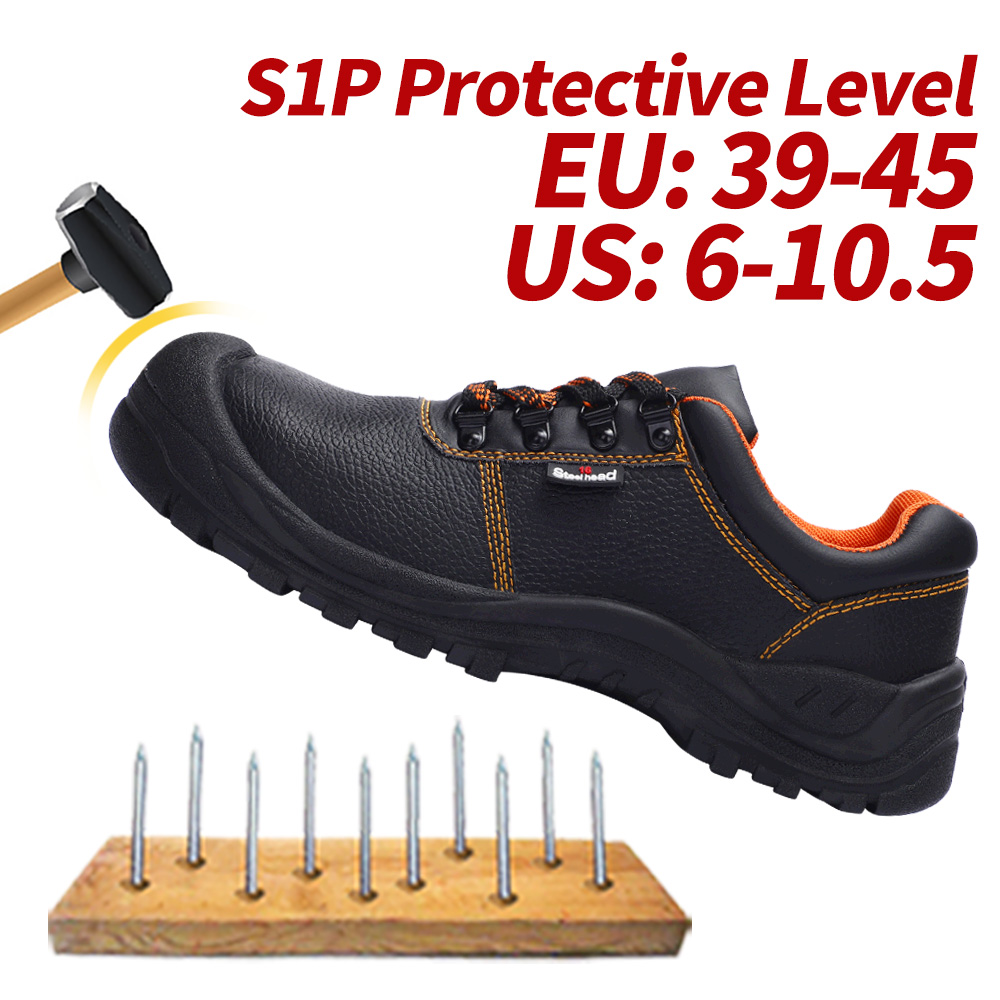 Men's Safety Shoes Steel Toe Working Safety Shoes For Men Fashion Hiking Sneaker Shock Proof Puncture Proof Non-Slip Footwear