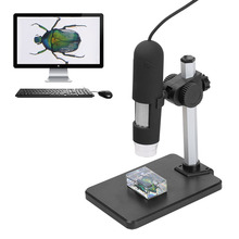 1000X Zoom USB Microscope 8 LED Compact Endoscope Magnifier Digital Video Camera Microscop with Rise and Fall Holder Third Hand