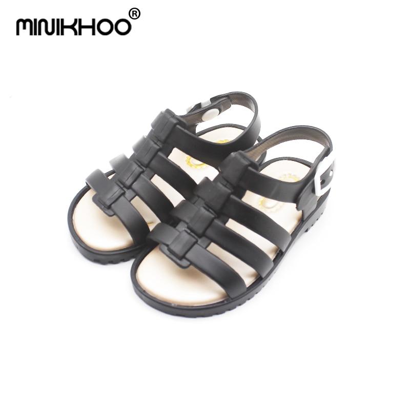 Mini Melissa 4 Color Girls Roman Sandals 2018 New Melissa Girls Jelly Sandals Children Shoes Baby Beach Sandals 13.5cm-17.5cm