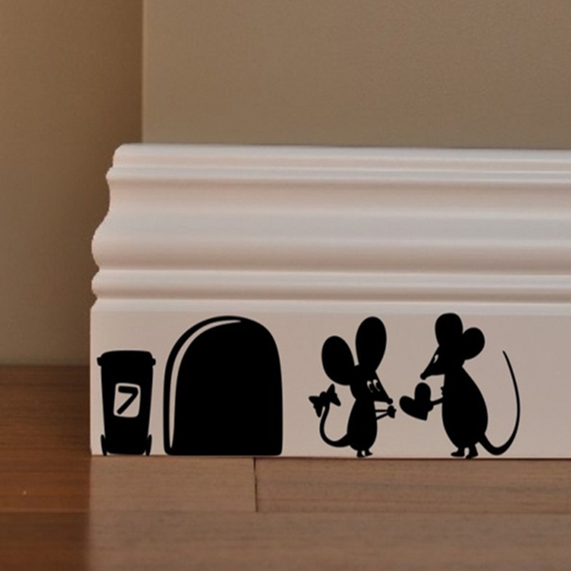 1pc Black Cartoon Mouse Love Heart Vinyl Art Wall Sticker