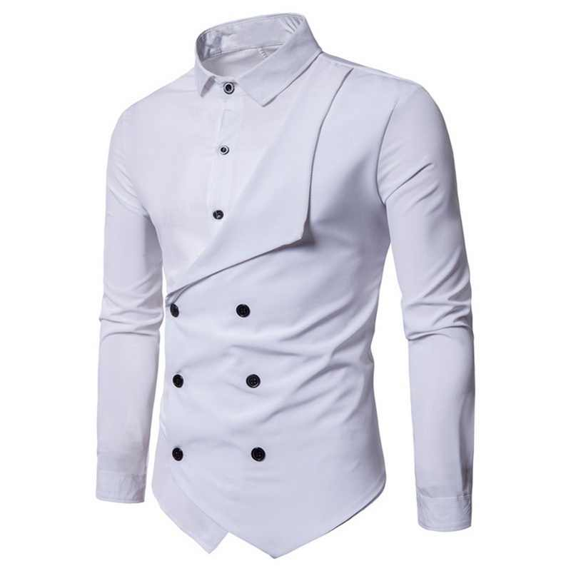Brand Fashion Design Men Dress Shirt Party Long Sleeve White Black Solid Shirts Irregular Button Slim Fit Casual Business Shirt Aliexpress