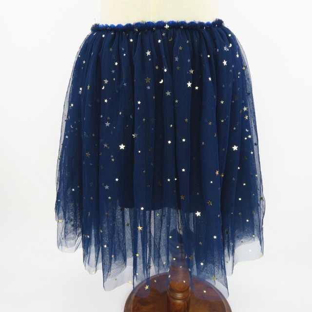 Rlyaeiz nuevo 6 colores moda bebé niñas faldas lentejuelas estrellas 2019 Primavera Verano malla vestido falda niñas faldas de malla 2-13Y
