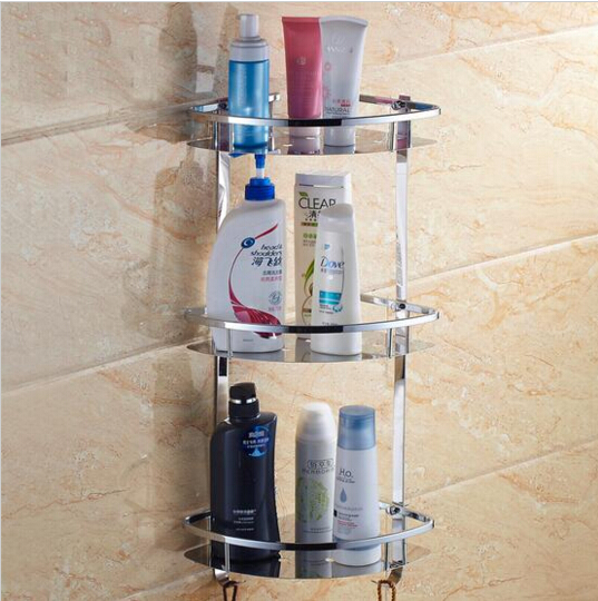 Três camadas de aço inoxidável 304 prateleira do banheiro rack de sala de banho para frasco de lavagem do corpo banheiro canto prateleira cômoda rack titular