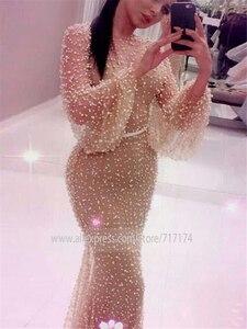 Image 3 - Robe de bal forme sirène, luxueuse tenue de soirée de standing, manches longues, lourde, perles, bonne qualité