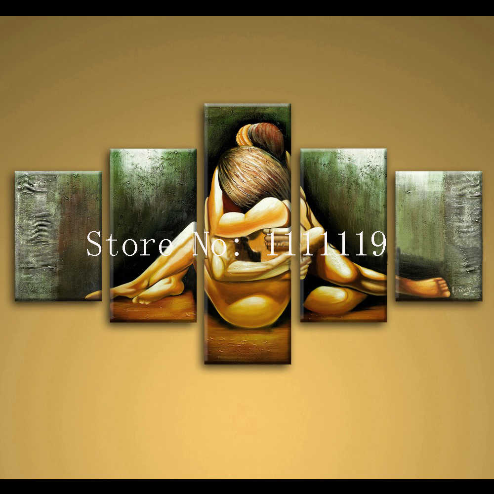 Top Artist Hand Painted Oil Painting Love Unique Abstract Figure Wall Canvas Art Handmade Sexy Nude Couple Hug Calligraphy Paint