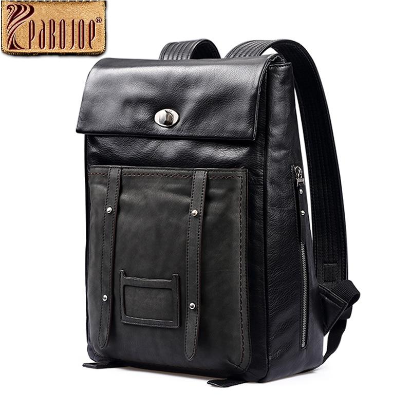 Pabojoe Brand Genuine Leather Backpack Casual Shoulder Big Capacity  school Bag Travel Personal Computer Holder Mochila Gift pabojoe women mens school backpack italian 100