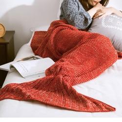 New Mermaid Blanket Handmade Knitted Sleeping Wrap TV Sofa Mermaid Tail Blanket Kids Adult Baby crocheted bag Bedding Throws bag
