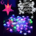 Venda quente EU Plug 5 M 28 Fada String Pentagrama LED Natal Luz Xmas Party Decoração Do Casamento Luzes 100-240 V