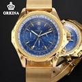 Orkina Mens Chronograph Relógios Top Marca de Luxo De Ouro 2016 Quartz Auto Data Luminous Relógio de Pulso Para Homens de Negócios À Prova D' Água