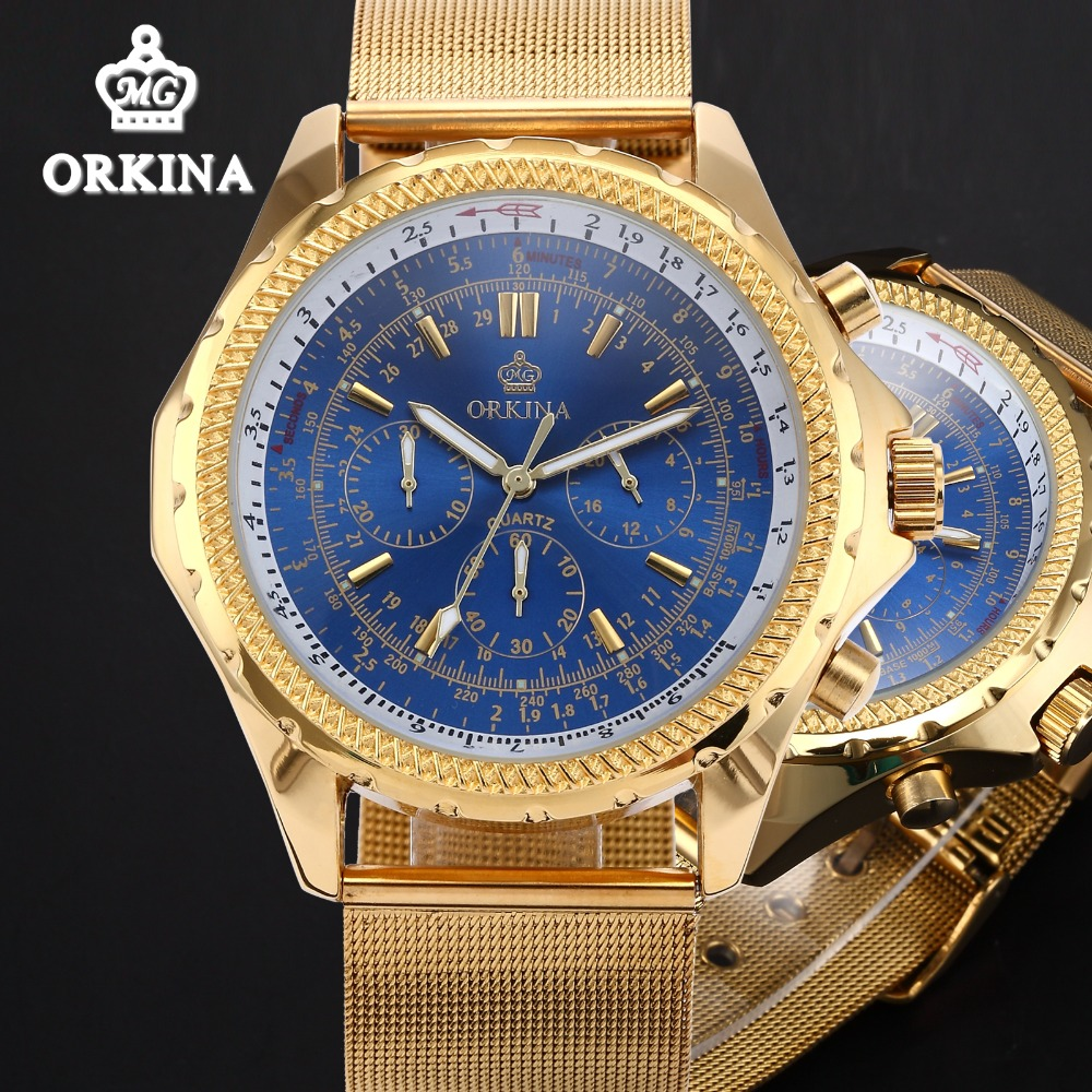 Orkina Mens Chronograph Watches Top Brand Luxury Gold 2016 Quartz Auto Date Luminous Business Waterproof Wrist Watch For Men orkina brand clock 2016 new luxury chronograph rose gold case black dial japan movement mens wrist watch cool horloges