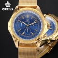 Orkina Mens Chronograph Watches Top Brand Luxury Gold 2016 Quartz Auto Date Luminous Business Waterproof Wrist Watch For Men