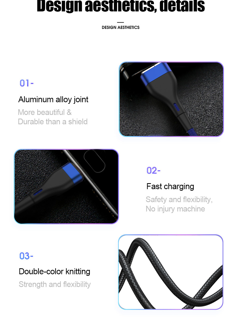 ZNP USB Type C Cable For Samsung S10 S9 S8 A50 Xiaomi Redmi Note 7 Fast Charging USB-C Charger Mobile Phone USBC Type-C Cable