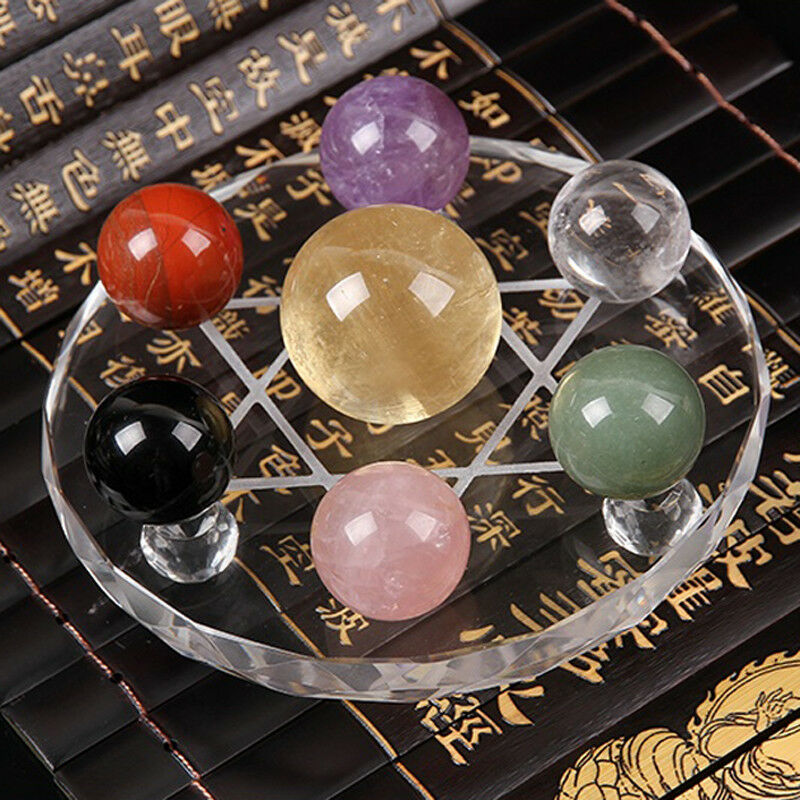 Fengshui Seven Star Array Natural Color Crystal Ball+Plate Base For DecorationFengshui Seven Star Array Natural Color Crystal Ball+Plate Base For Decoration