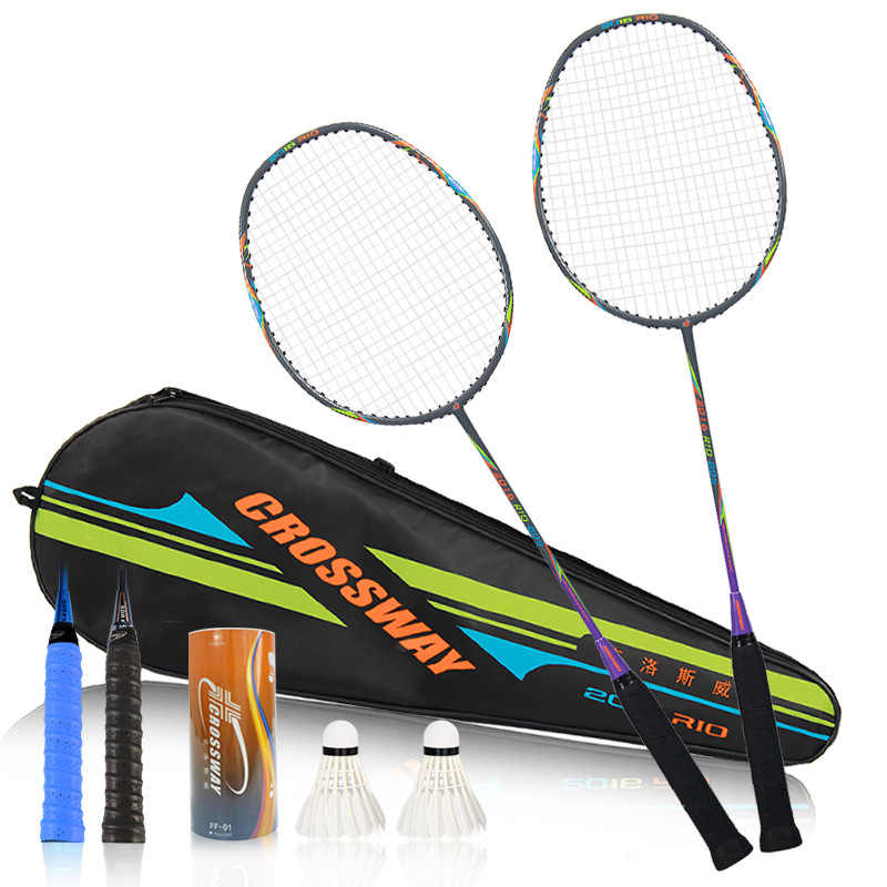 CROSSWAY 2Pcs Best Championships Badminton Rackets Doubles Carbon Lightest Shuttlecock Racquets Set Sports Rio Olympics Memorial