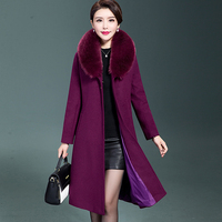 Middle Age High Quality Winter Woolen Coat 2017 New Women Mid Long Section Artificial Fox Fur