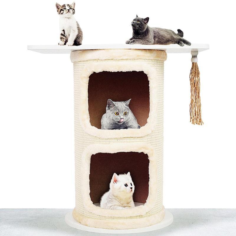 Double Tree Holes Cat Tree Sisal Barrel Cat Tower Cats Climbing Frame E5M1
