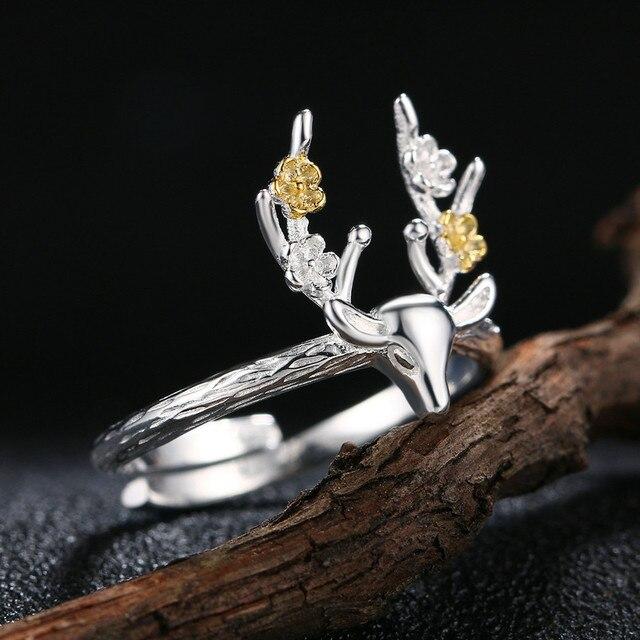 MoBuy 100% 925 Sterling Silver Sika Deer Design Regolabile Anelli Gioielli Per Le Donne Regalo Del Partito MBRY064